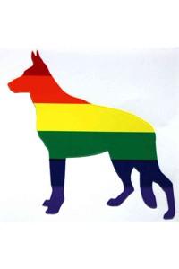 AUTOCOLLANT DOG RAINBOW 7x7