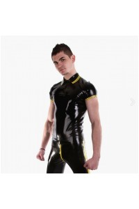 POLO LATEX NOIR ET JAUNE