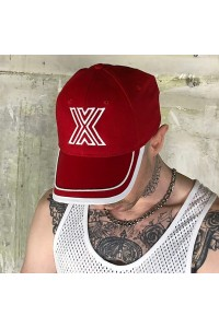 BASEBALL CAP RED WITH X WHITE